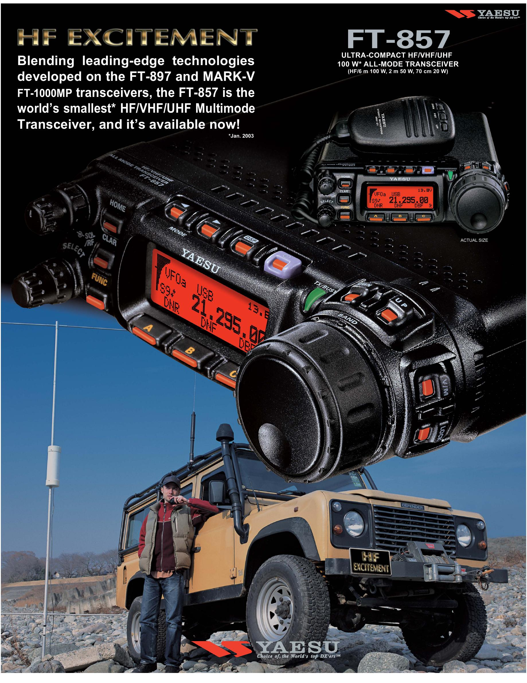 FT-857 Ultra Compact HF/VHF/UHF 100 W All Mode Transceiver